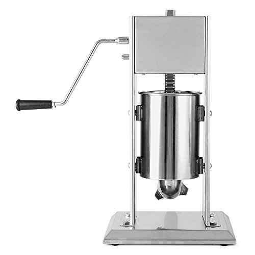BuoQua 3 Liter Wurstfüllmaschine Manuell Gewerbe Wurstfüller mit Fülltrichter Edelstahl Wurstspritze für Salami Leberwurst usw.